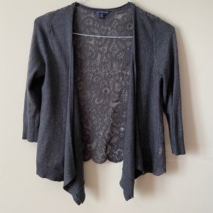 AE Women's Grey Open Front Cardigan Sweater, Small